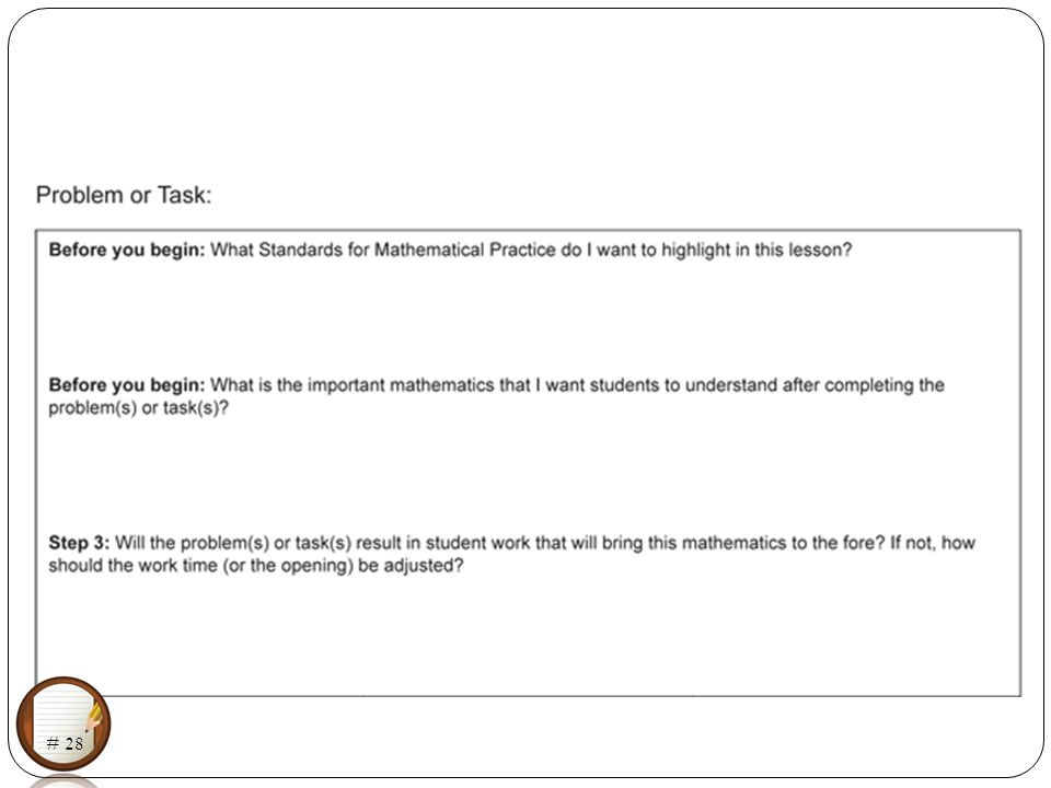 Planning Lessons with the Standards for Mathematical Practice