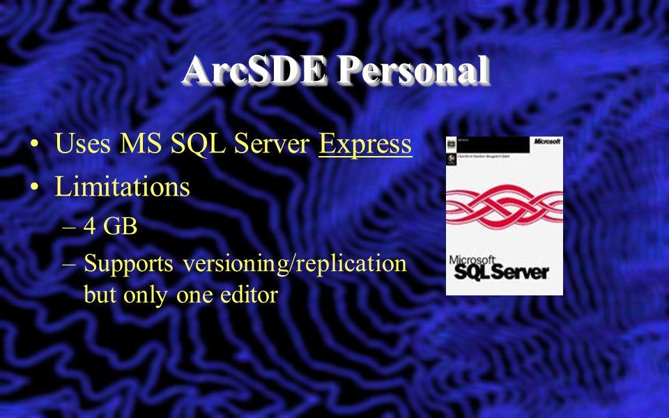 ArcSDE Personal Uses MS SQL Server Express Limitations 4 GB