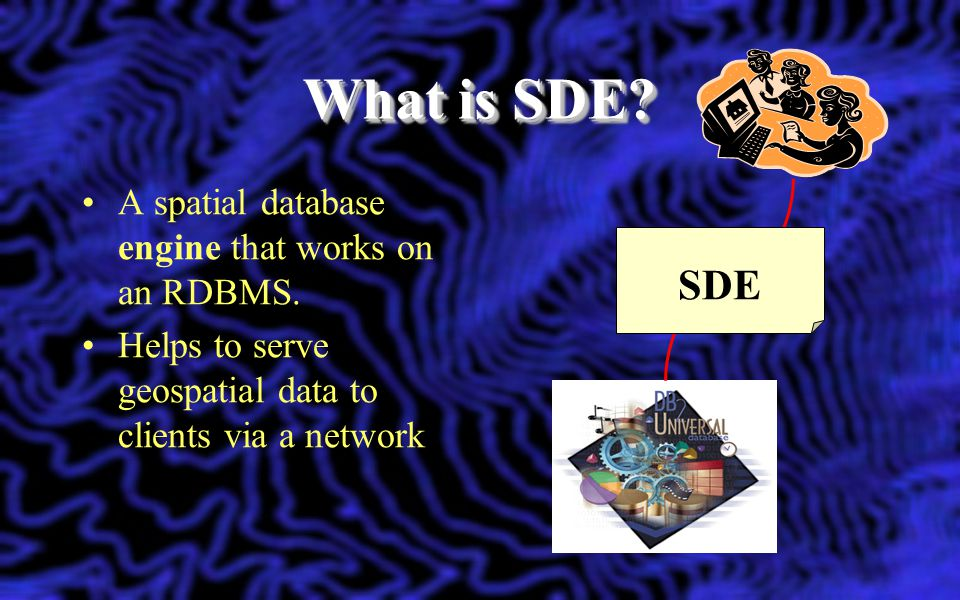 What is SDE SDE A spatial database engine that works on an RDBMS.