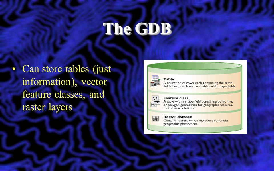 The GDB Can store tables (just information), vector feature classes, and raster layers