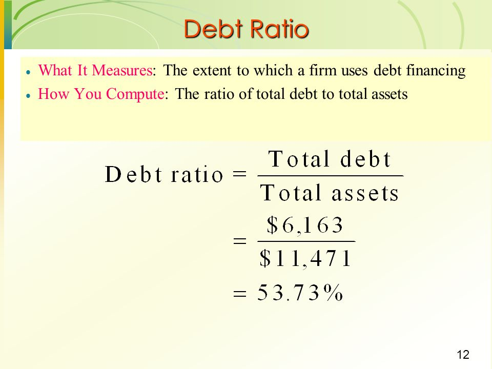 Debt Ratio What It Measures: The extent to which a firm uses debt financing.