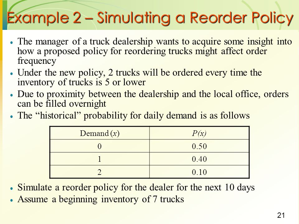 Example 2 – Simulating a Reorder Policy