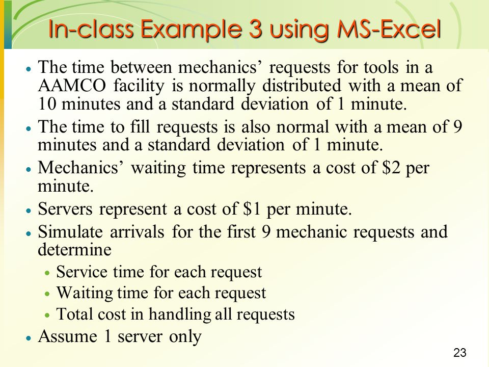 In-class Example 3 using MS-Excel