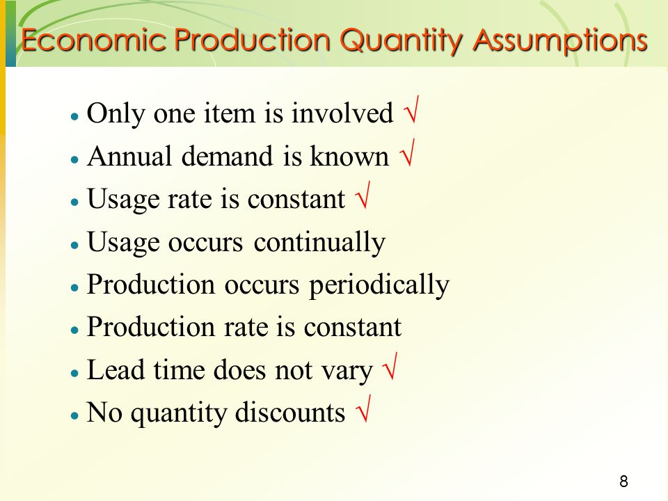 Economic Production Quantity Assumptions
