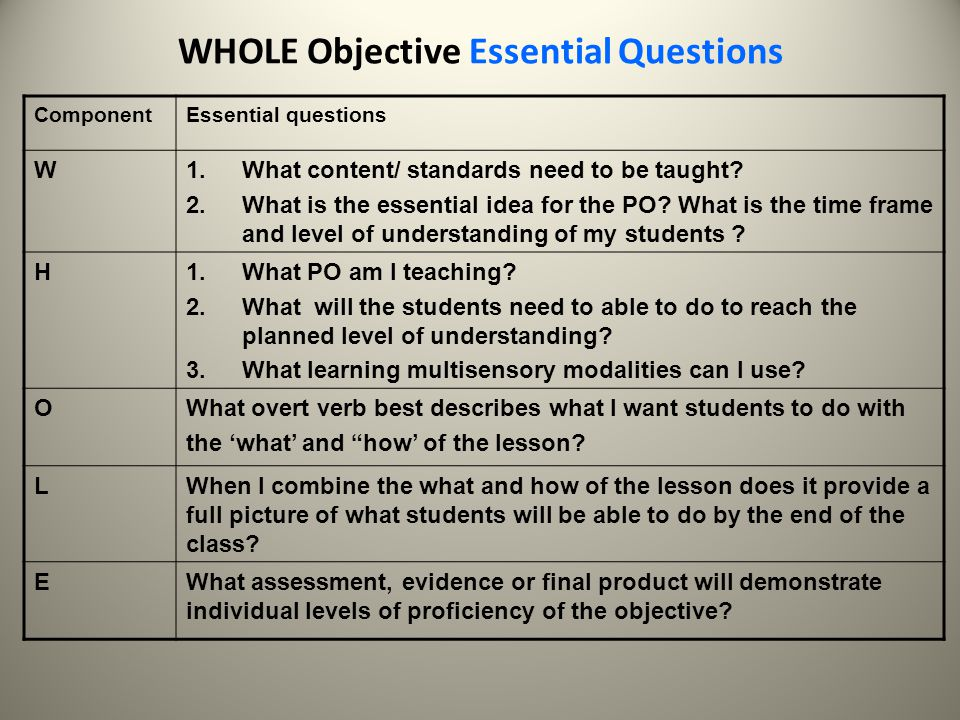 WHOLE Objective Essential Questions
