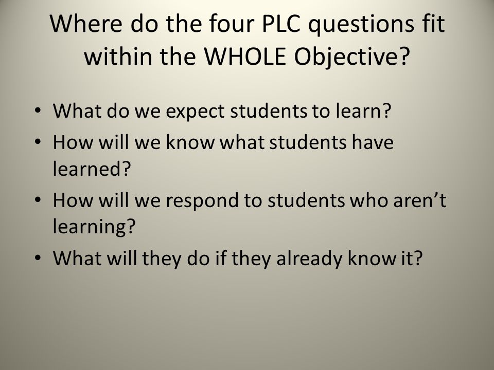 Where do the four PLC questions fit within the WHOLE Objective