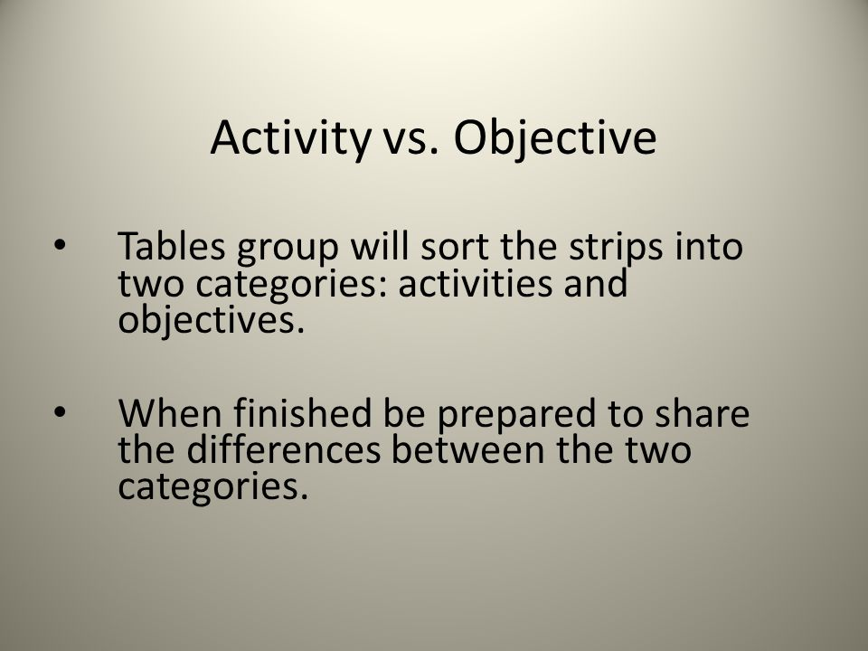 Activity vs. Objective Tables group will sort the strips into two categories: activities and objectives.