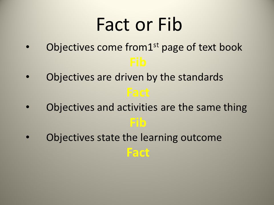 Fact or Fib Fib Fact Objectives come from1st page of text book