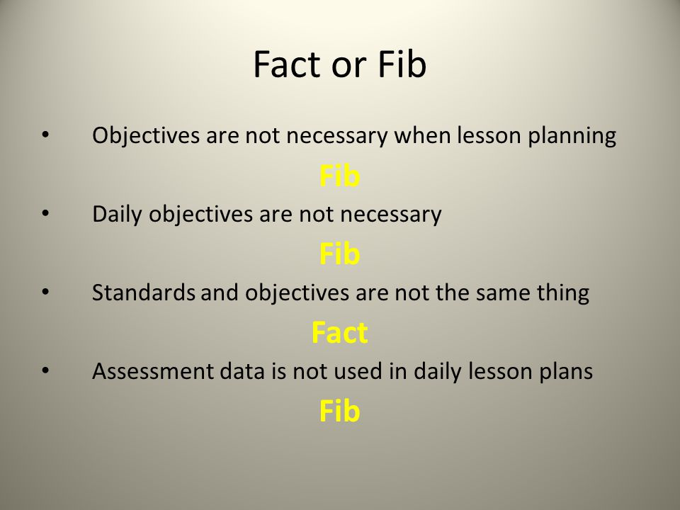 Fact or Fib Fib Fact Objectives are not necessary when lesson planning