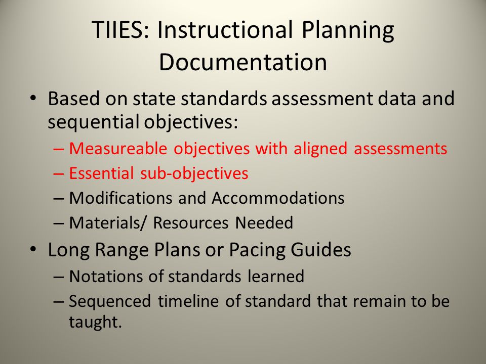 TIIES: Instructional Planning Documentation