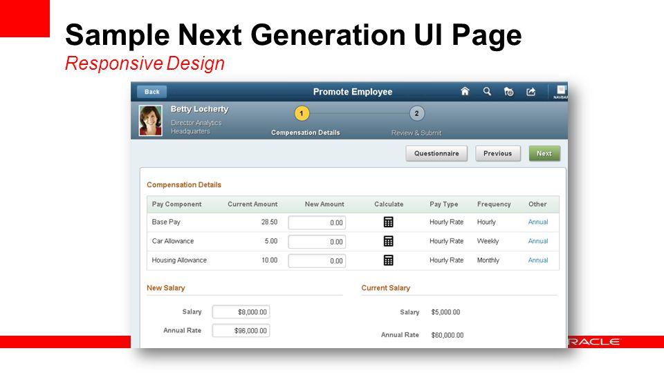 Sample Next Generation UI Page Responsive Design