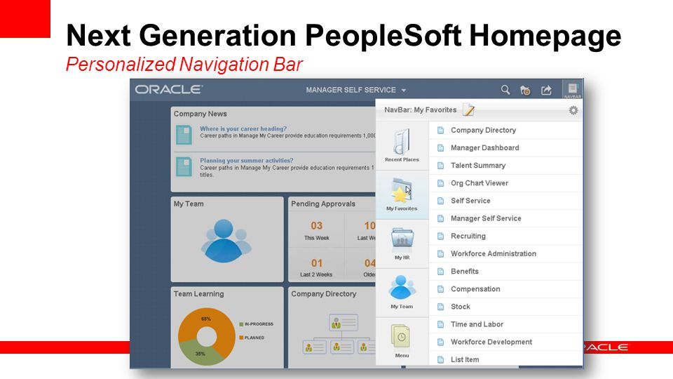 Next Generation PeopleSoft Homepage Personalized Navigation Bar