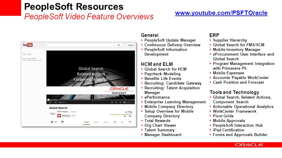 PeopleSoft Resources PeopleSoft Video Feature Overviews