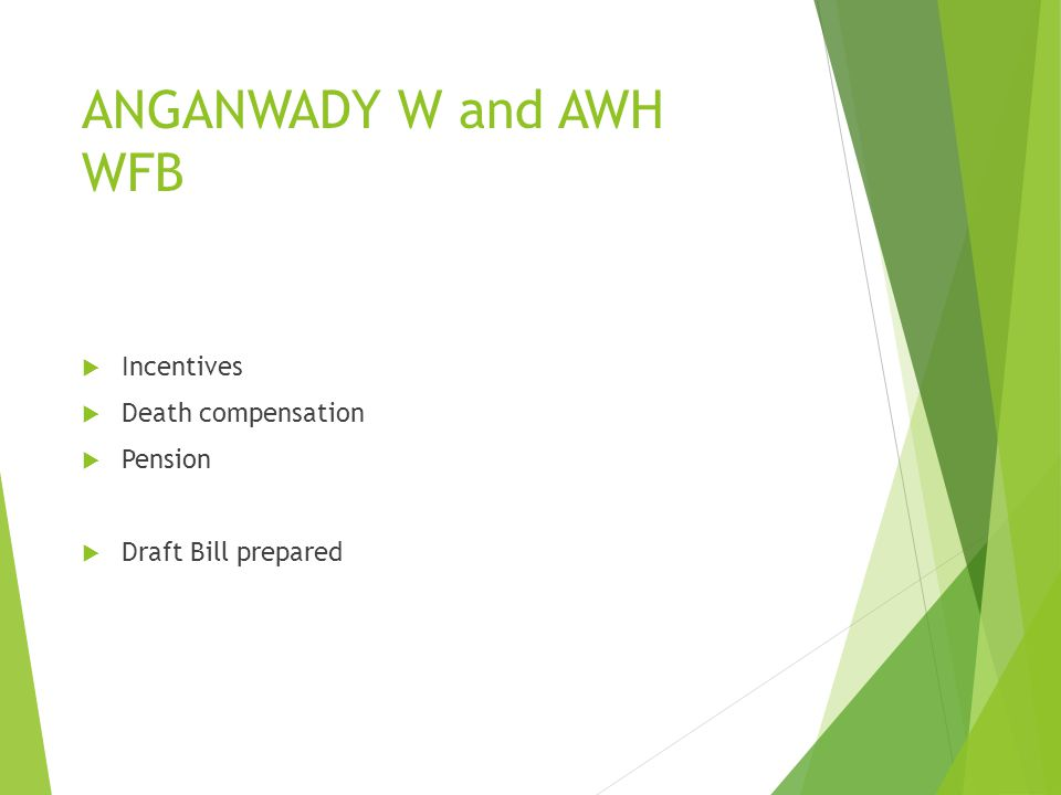 ANGANWADY W and AWH WFB Incentives Death compensation Pension