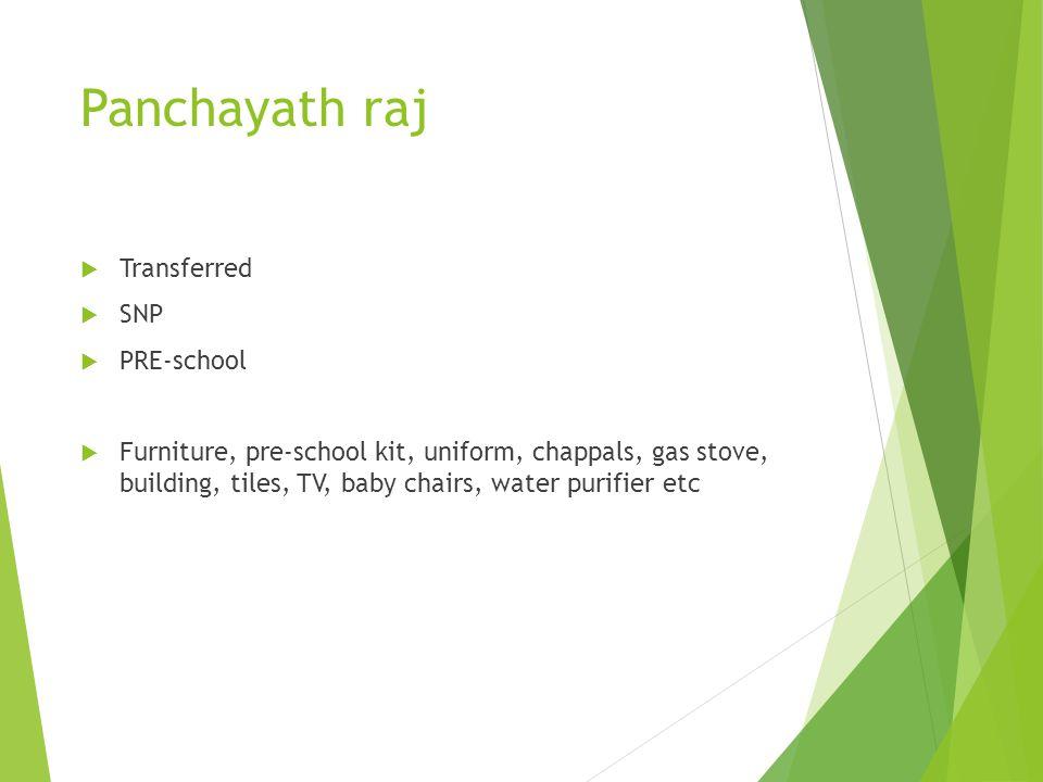 Panchayath raj Transferred SNP PRE-school