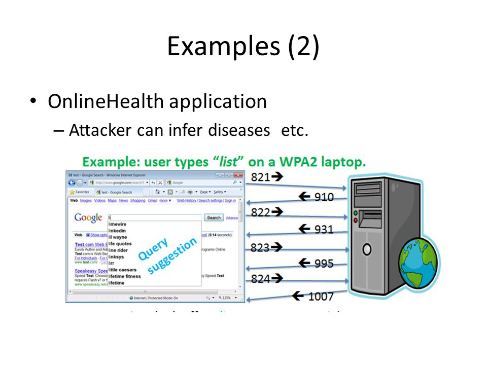 Examples (2) OnlineHealth application Attacker can infer diseases etc.