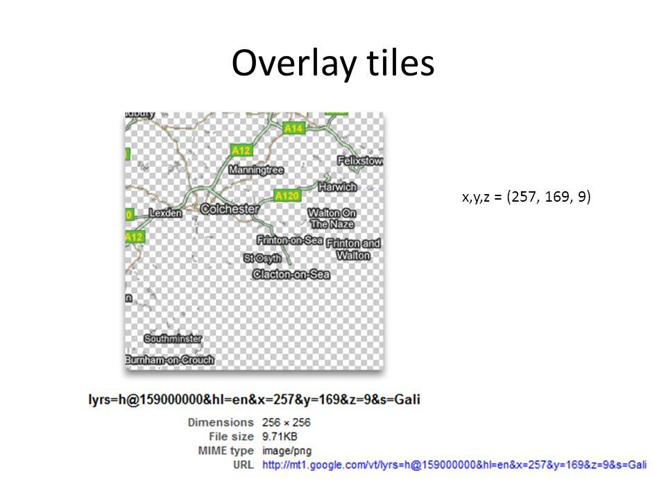 Overlay tiles x,y,z = (257, 169, 9)