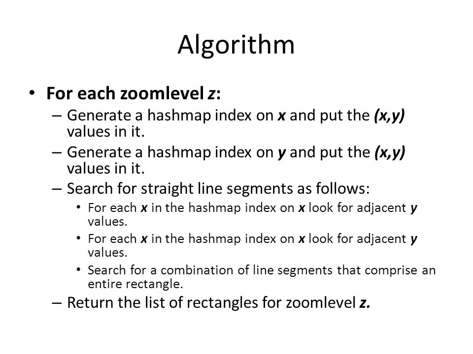 Algorithm For each zoomlevel z: