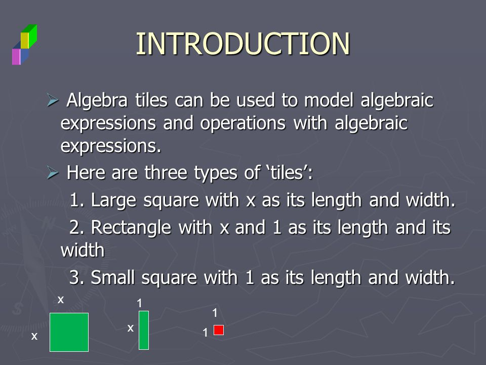 INTRODUCTION Algebra tiles can be used to model algebraic expressions and operations with algebraic expressions.