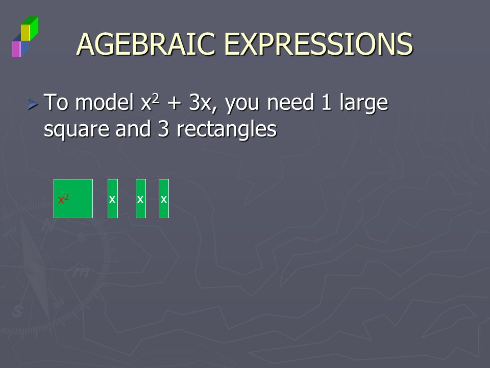 AGEBRAIC EXPRESSIONS To model x2 + 3x, you need 1 large square and 3 rectangles x2 x x x