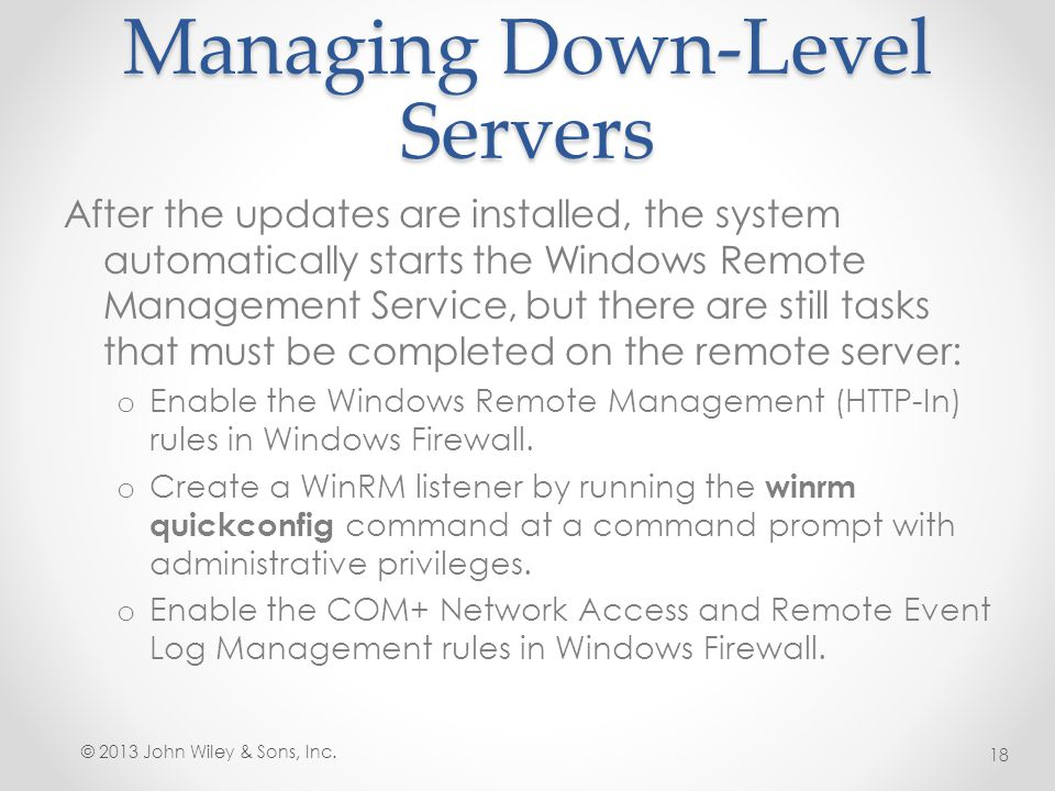 Managing Down-Level Servers