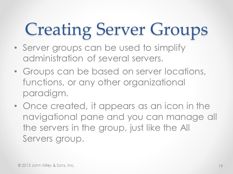 Creating Server Groups