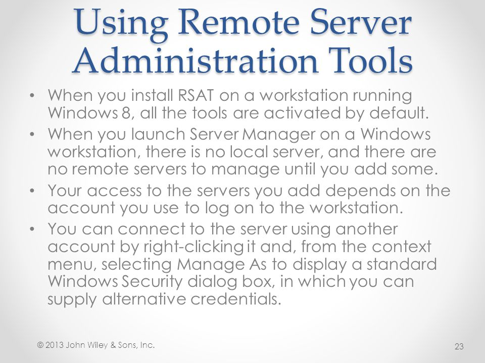 Using Remote Server Administration Tools