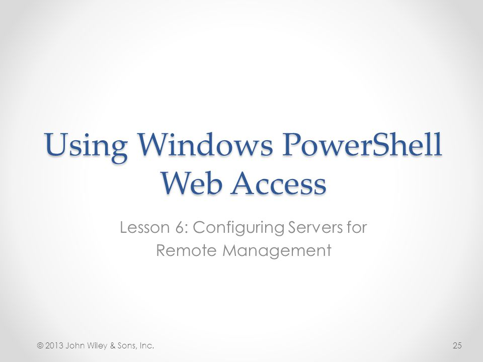 Using Windows PowerShell Web Access