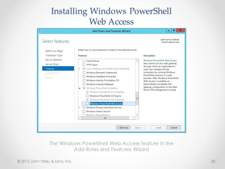 Installing Windows PowerShell Web Access