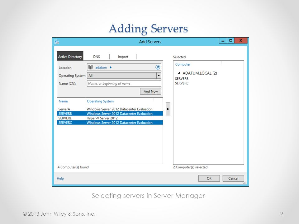 Selecting servers in Server Manager