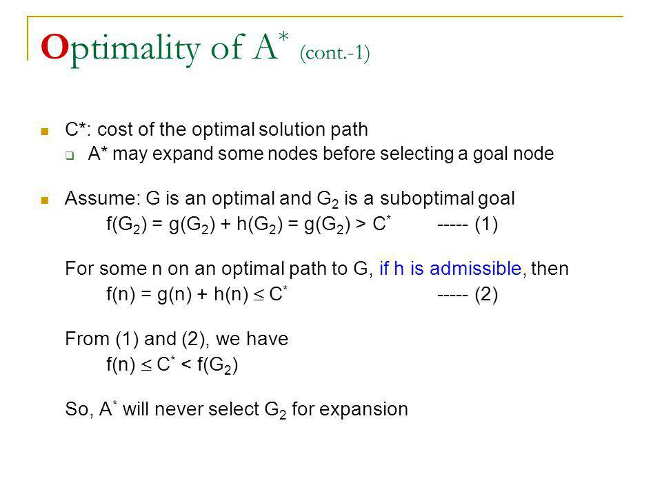 Optimality of A* (cont.-1)