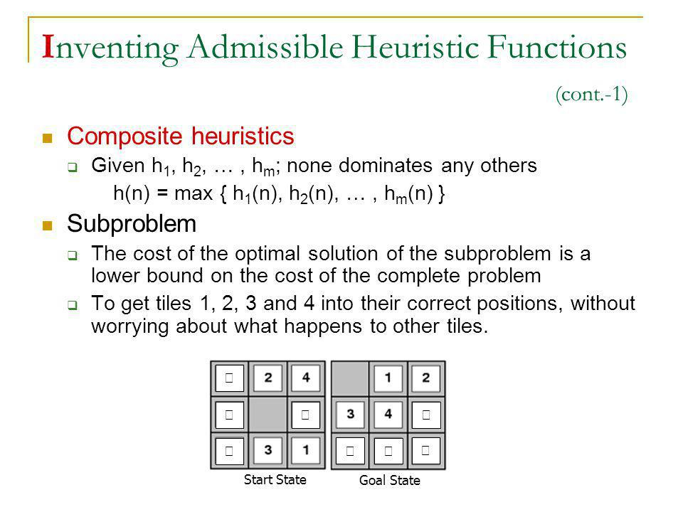 Inventing Admissible Heuristic Functions (cont.-1)