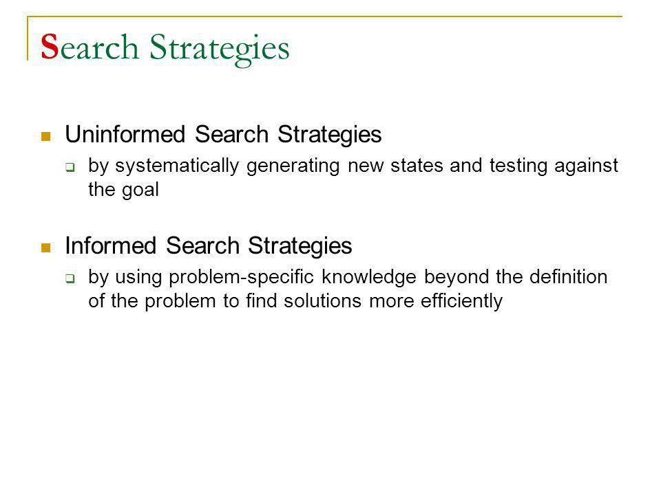 Search Strategies Uninformed Search Strategies