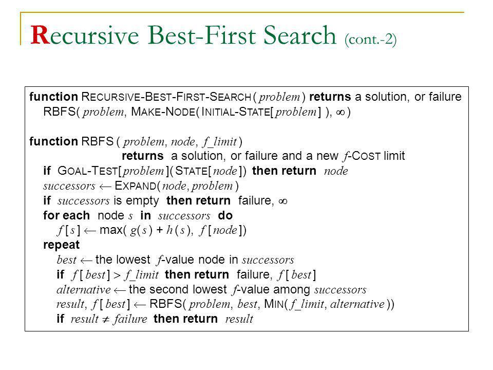 Recursive Best-First Search (cont.-2)