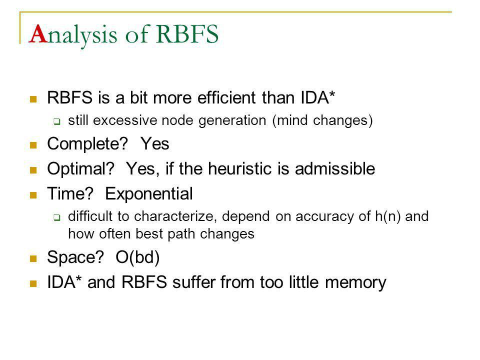 Analysis of RBFS RBFS is a bit more efficient than IDA* Complete Yes