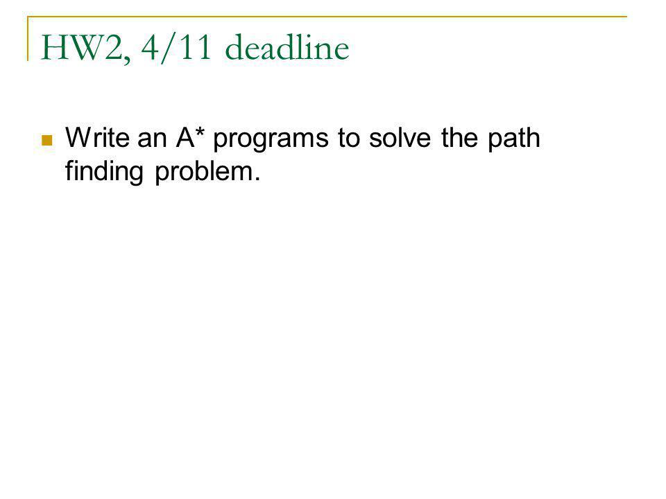 HW2, 4/11 deadline Write an A* programs to solve the path finding problem.