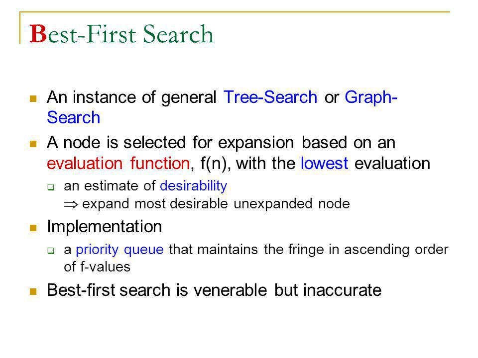 Best-First Search An instance of general Tree-Search or Graph-Search