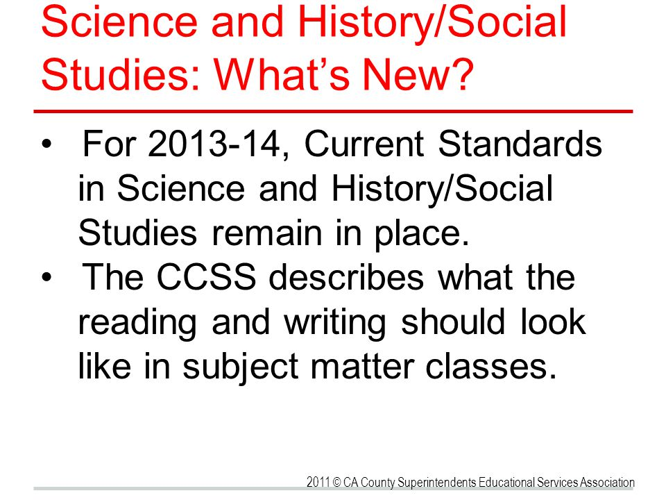 Science and History/Social Studies: What's New