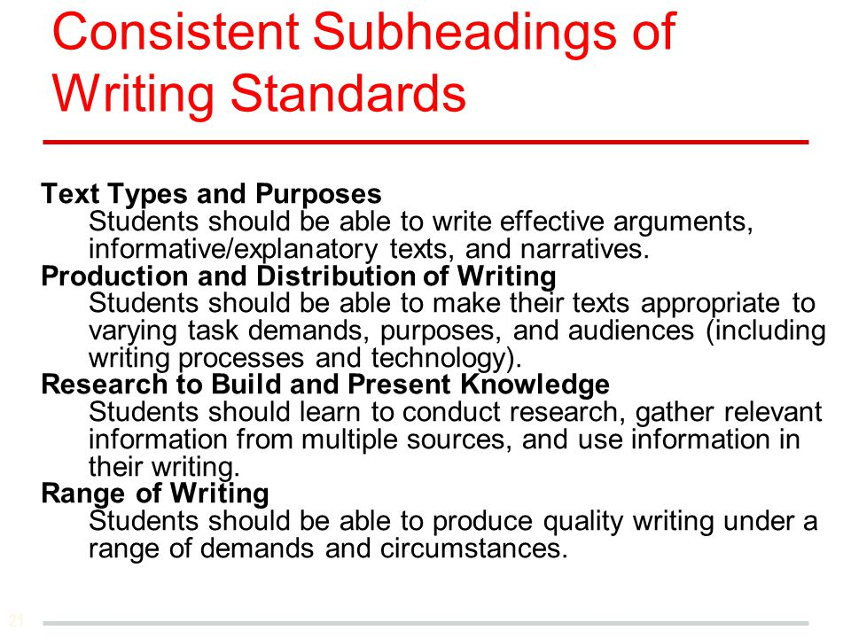 Consistent Subheadings of Writing Standards