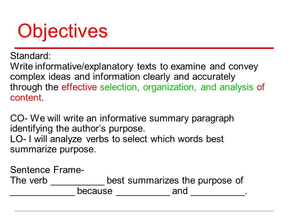 Objectives Standard: