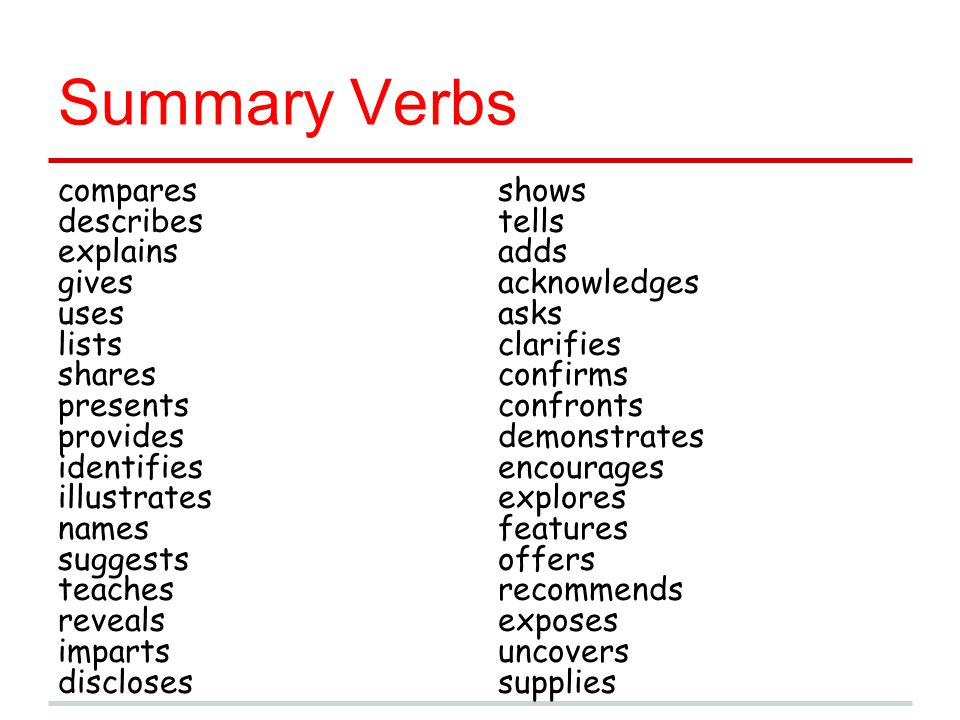 Summary Verbs compares describes explains gives uses lists shares