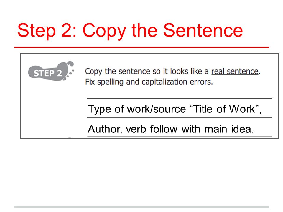 Step 2: Copy the Sentence