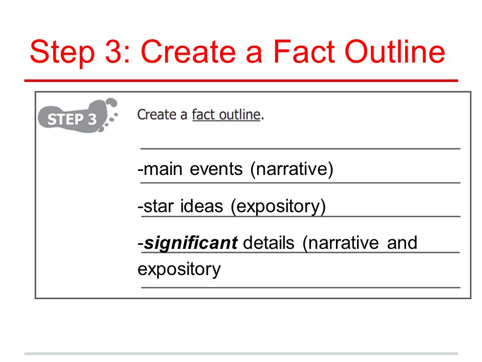 Step 3: Create a Fact Outline