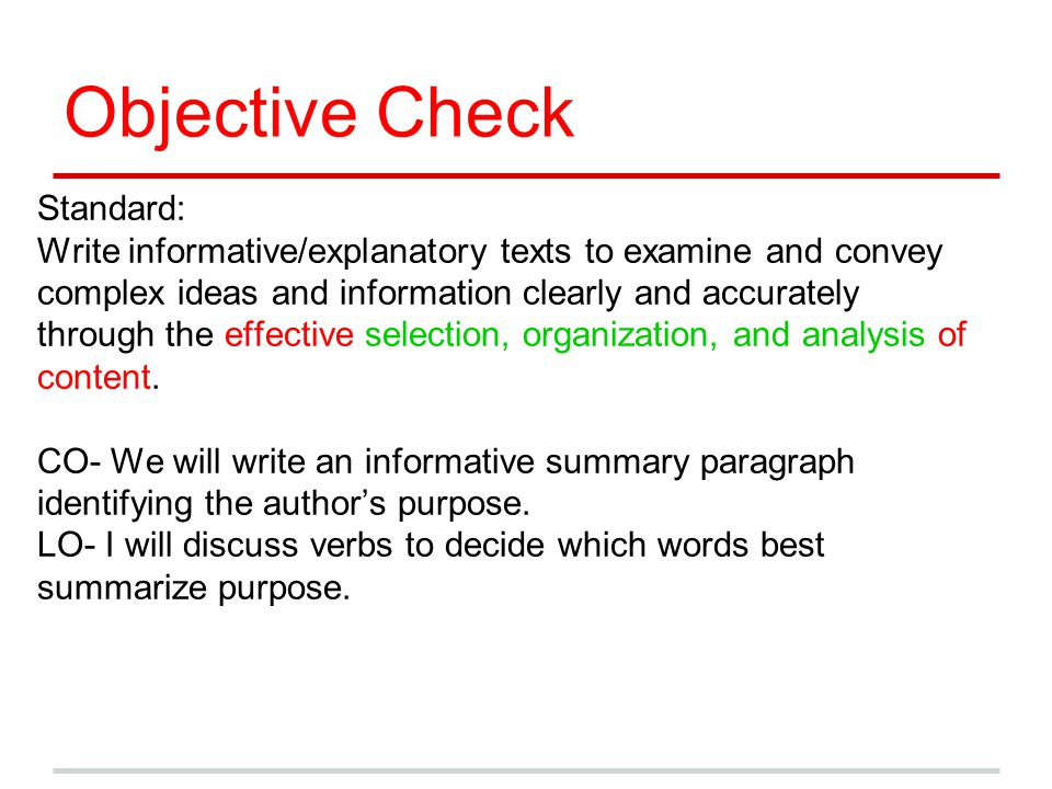 Objective Check Standard: