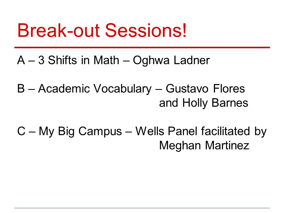 Break-out Sessions! A – 3 Shifts in Math – Oghwa Ladner