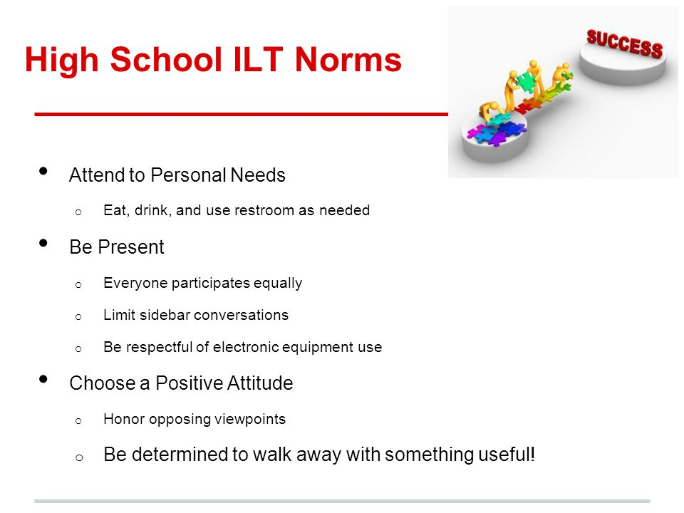 High School ILT Norms Attend to Personal Needs Be Present