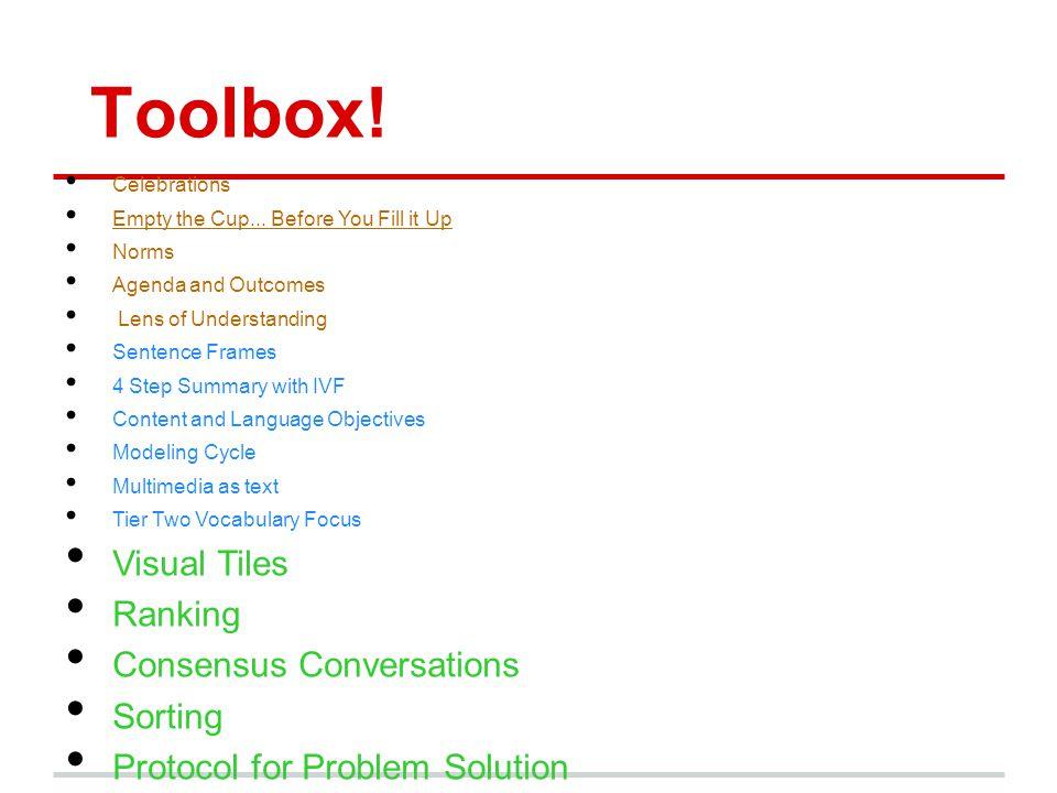 Toolbox! Visual Tiles Ranking Consensus Conversations Sorting