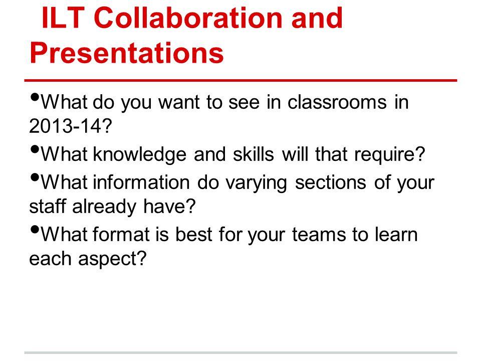 ILT Collaboration and Presentations