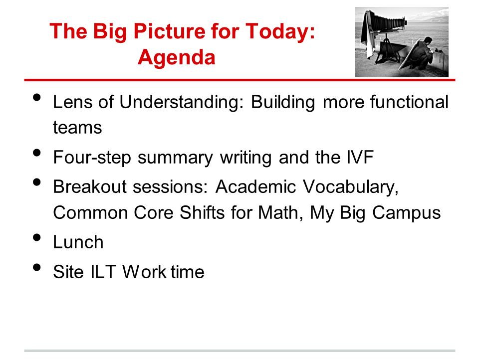 The Big Picture for Today: Agenda