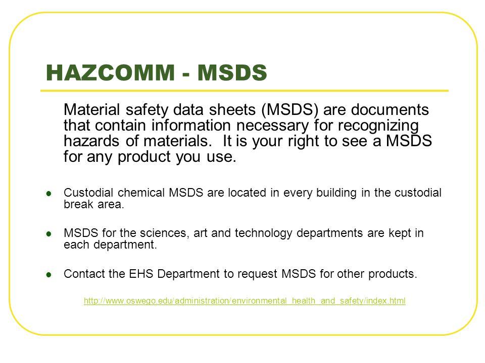HAZCOMM - MSDS